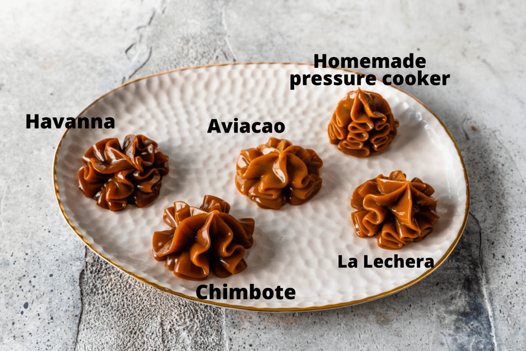 dulce de leche from different brands piped on a plate.