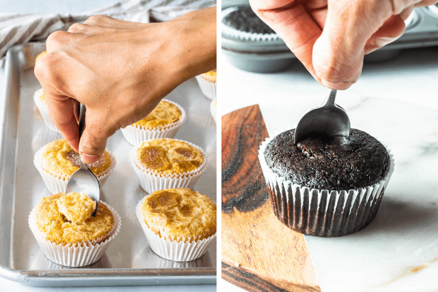 hand using a spoon to make a hole in the center of a chocolate cupcake.