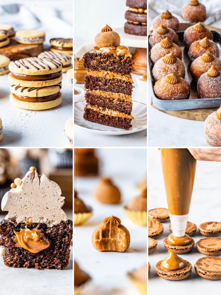 a collage of recipes made with dulce de leche.