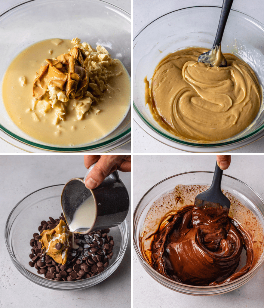 4 pictures: first is showing a bowl of condensed milk, white chocolate and peanut butter, and next to it, another picture showing those ingredients melted, the bottom left picture shows a hand pouring heavy cream in a bowl with chocolate and peanut butter, and next to it, those same ingredients melted with a spatula stirring the ingredients with a spoon.