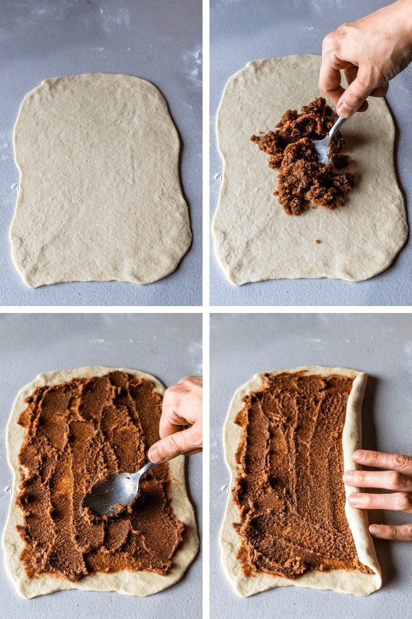 four images showing how to fill and roll cinnamon rolls dough.