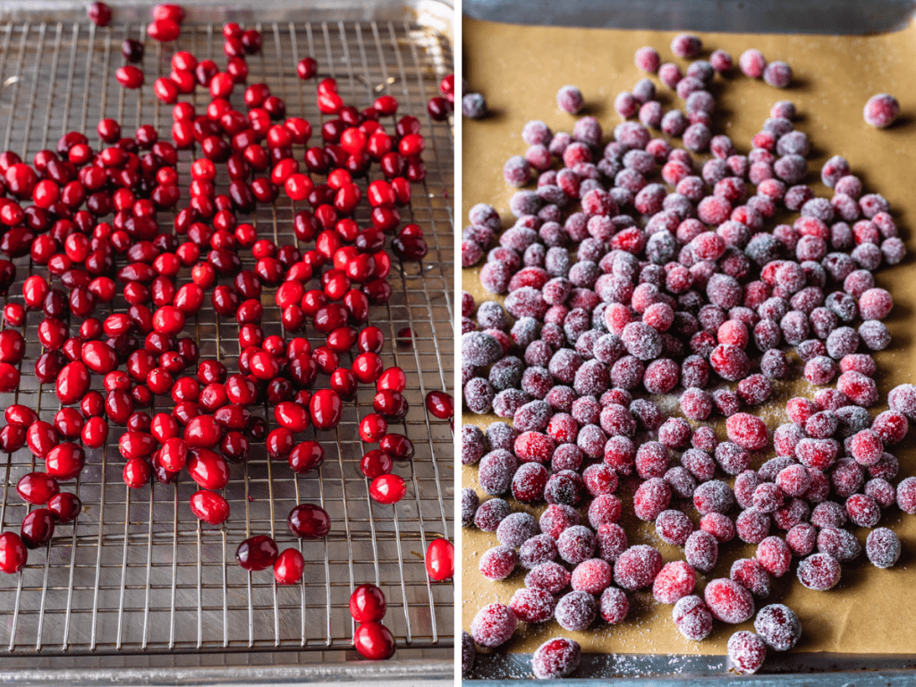 two pictures, the one on the left shows cranberries on top of a cooling rack, and the one on the right shows sugared cranberries.