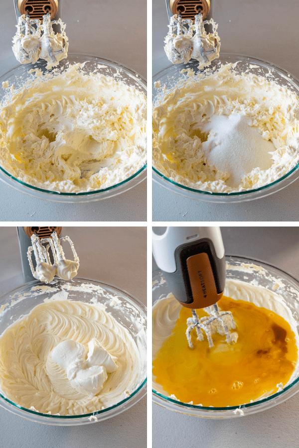 making cheesecake batter.