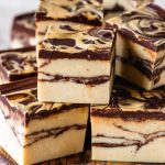 chocolate peanut butter marble fudge stacked.
