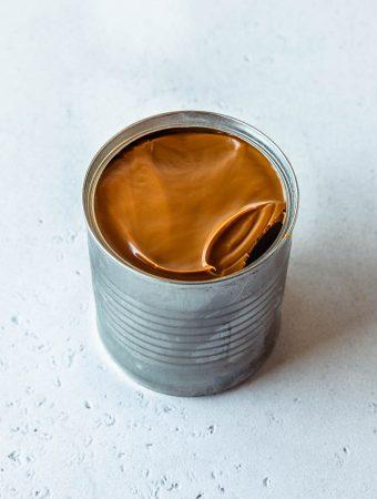 condensed milk can with instant pot dulce de leche inside.