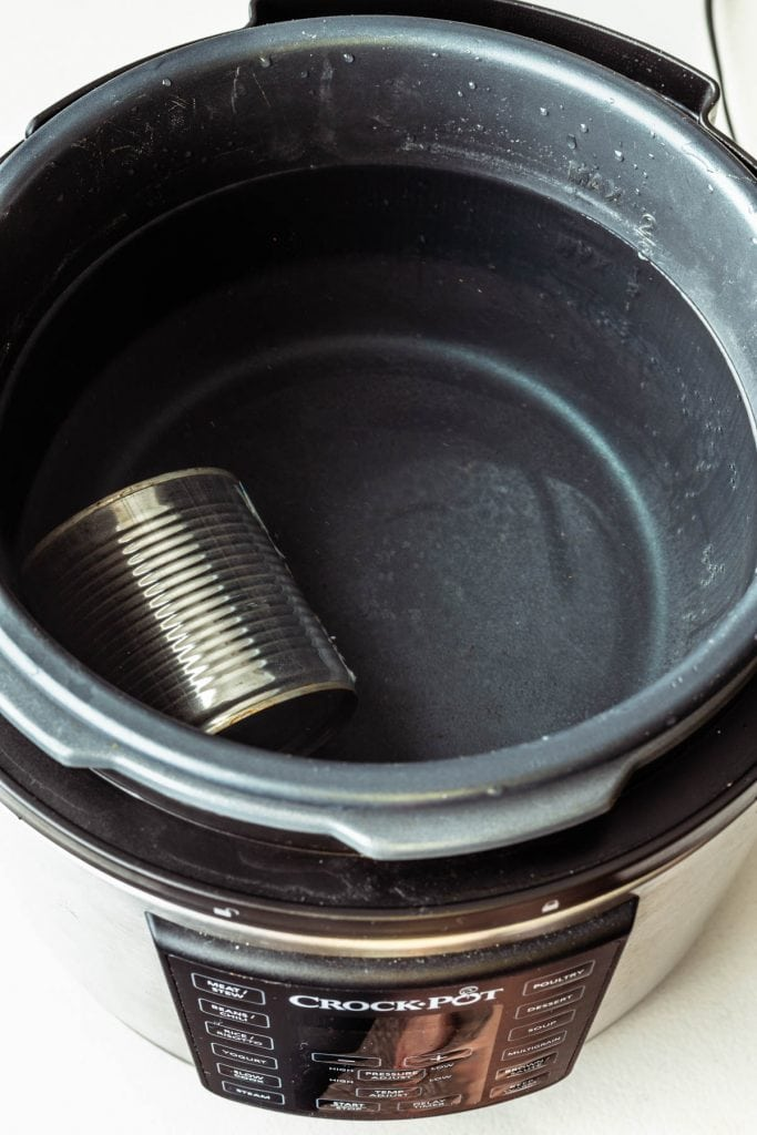 can of condensed milk in a pressure cooker.