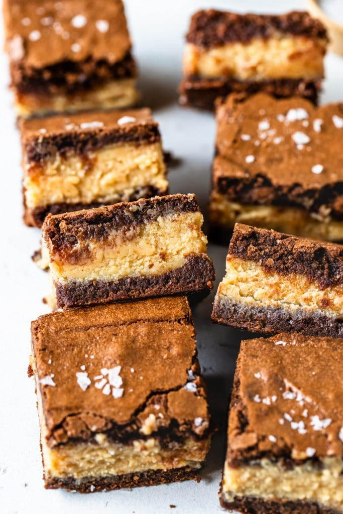 Peanut Butter Fudge Brownies stuffed with peanut butter with sea salt on top.