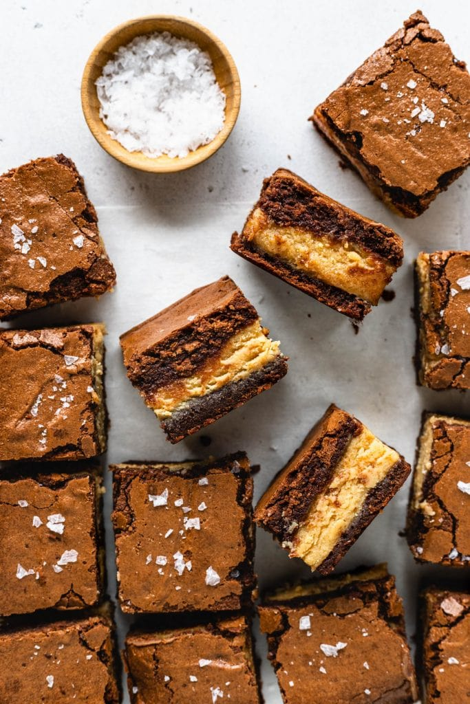 peanut butter brownies with sea salt seen from the top.