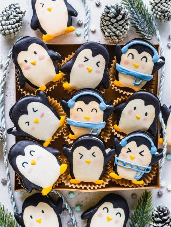 Penguin Macarons in a cookie box.