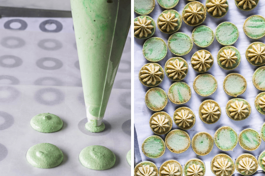 two pictures showing macarons baked on parchment paper.
