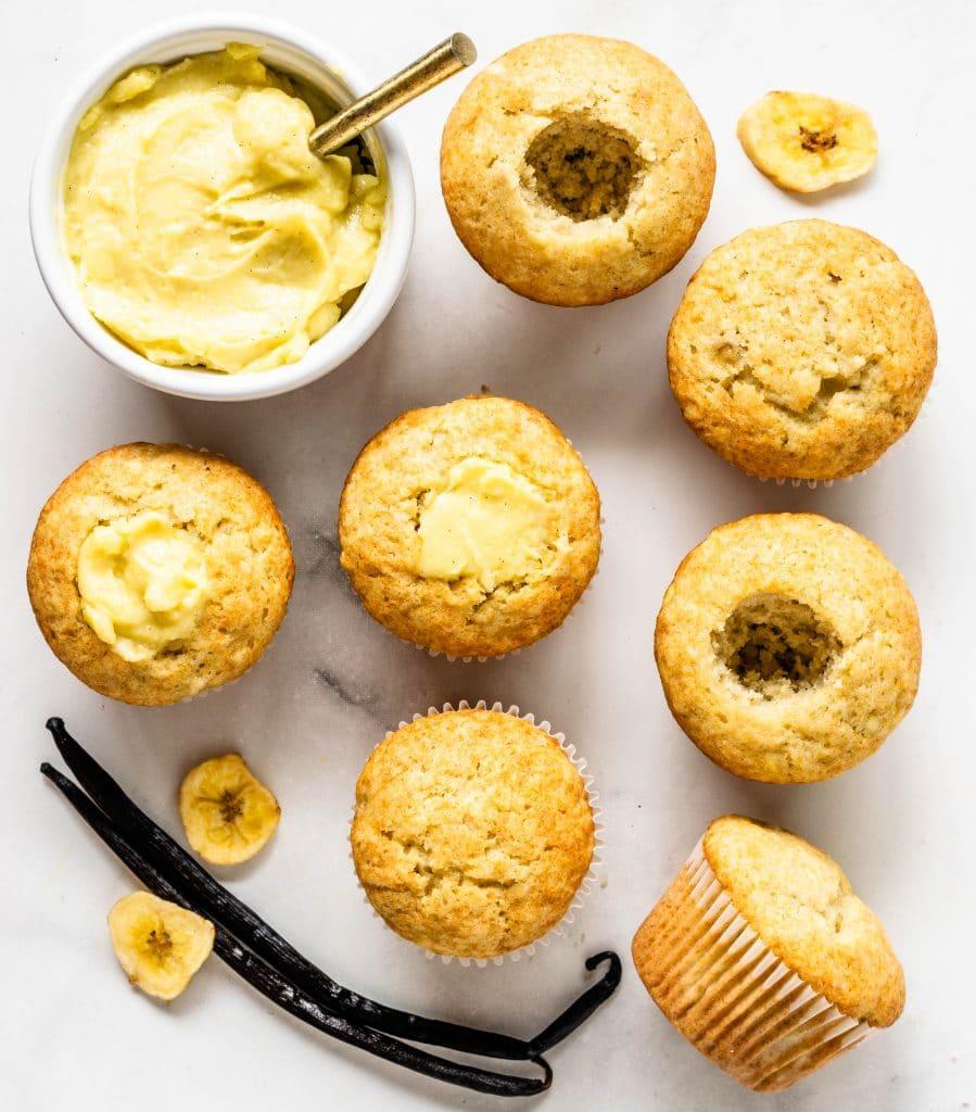 banana creme brulee cupcakes filled with custard.