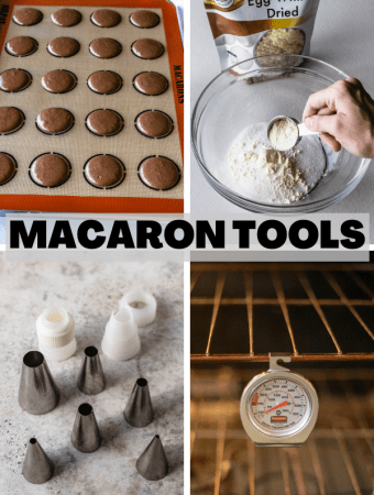Picture showing different macaron tools.