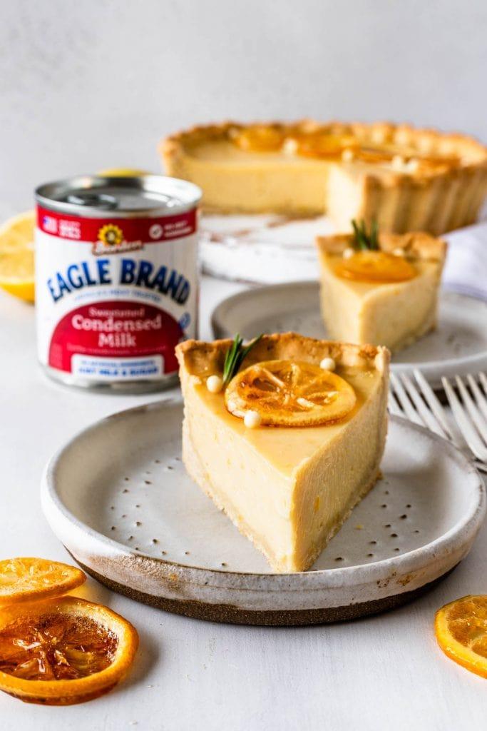 slice of lemon pie topped with caramelized lemon slices.