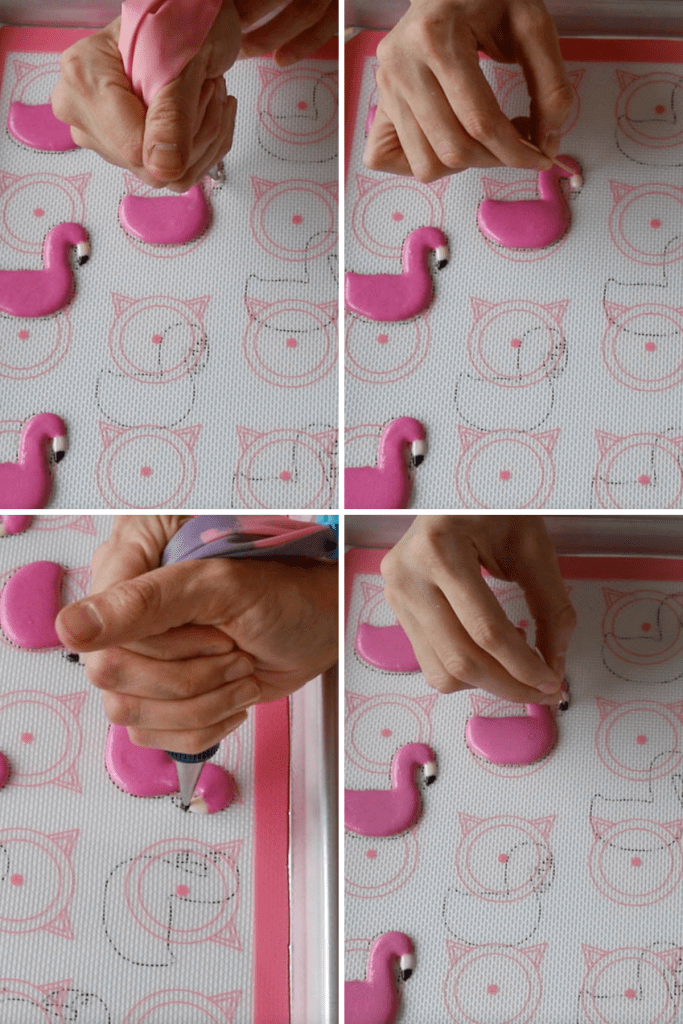 piping macarons shaped like flamingos.