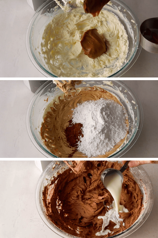 making chocolate biscoff frosting.