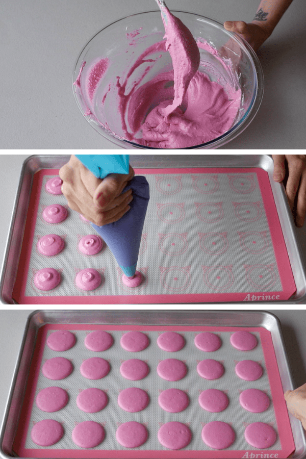 showing how to pipe strawberry macaron shells.