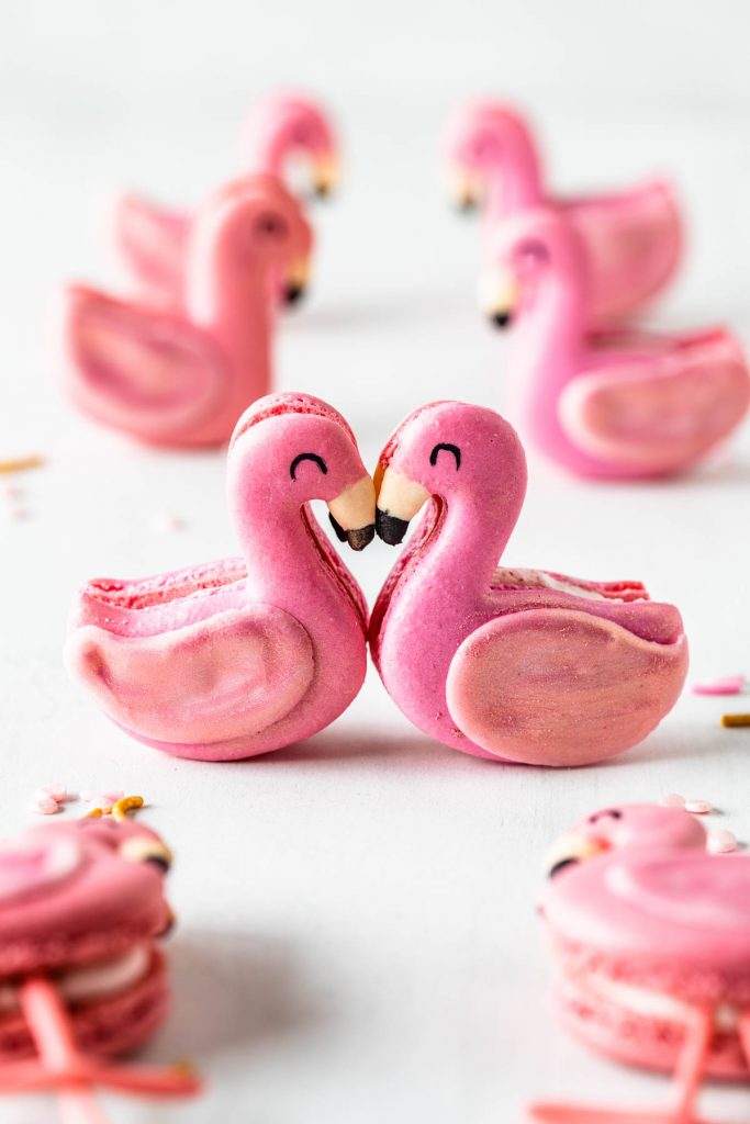 Flamingo Macarons with wings made out of chocolate and legs made out of fondant.