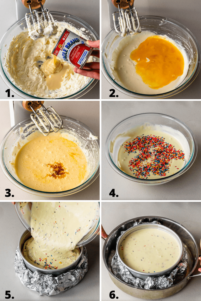 steps showing how to make funfetti cheesecake.