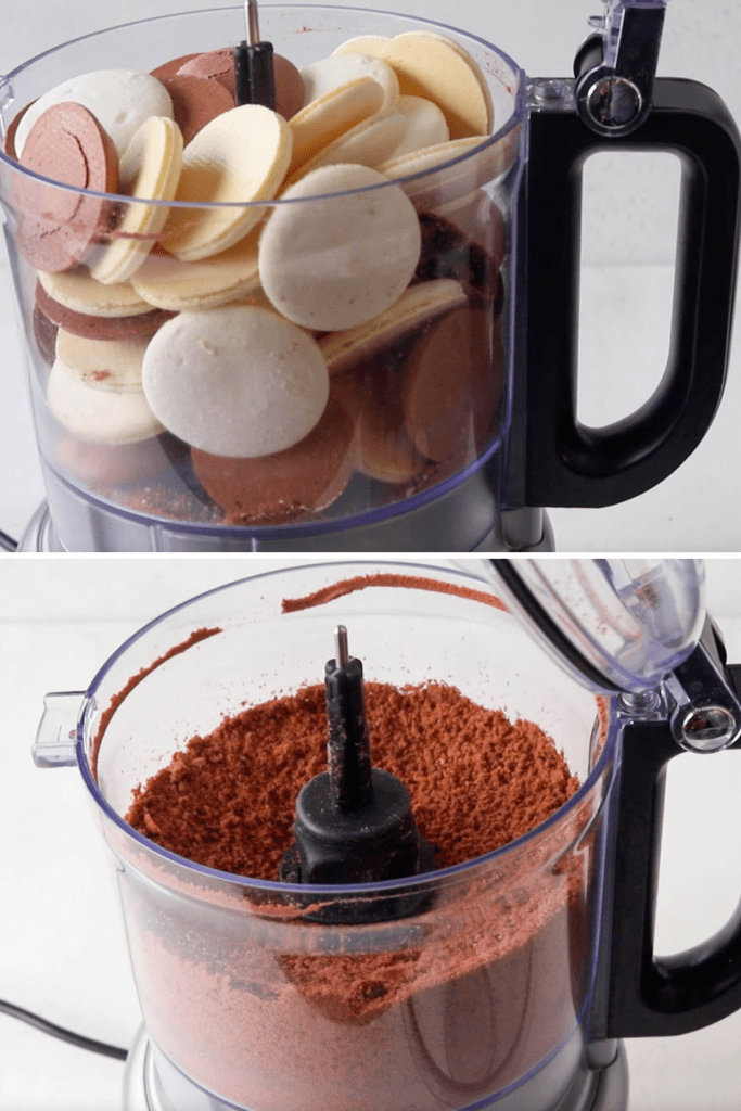two pictures showing macaron shells being ground up in a food processor.