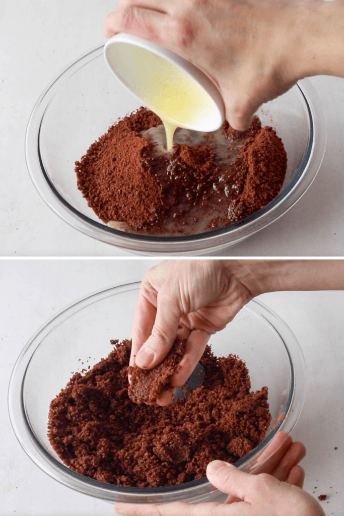 adding butter to a bowl of macaron flour.