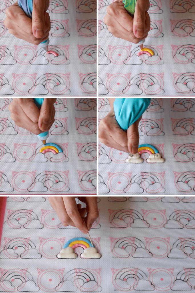 pictures showing how to pipe rainbow macarons.