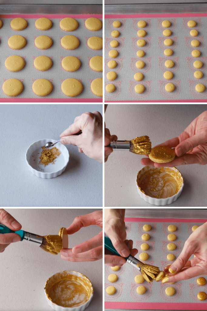 pictures showing how to paint macarons with golden luster dust.