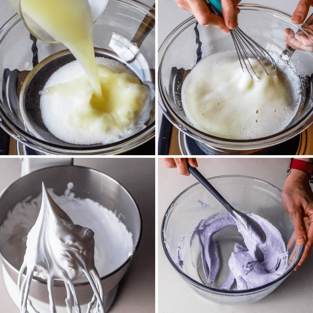 4 pictures showing the 4 stages of making macarons, heating up egg whites over the double boiler with sugar, whipping the egg whites with a mixer until stiff peaks, and mixing the macaronage until the perfect consistency.