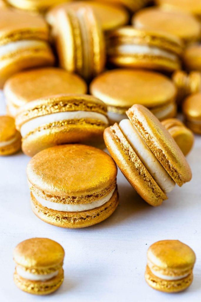 Golden Macarons filled with Baileys Ganache.