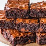 Stack of brownies.