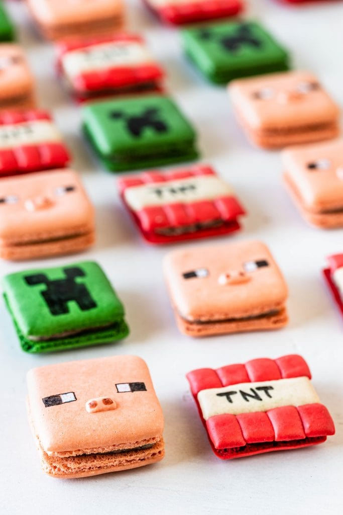 minecraft macarons, square macarons shaped like pig, creeper, and tnt characters.
