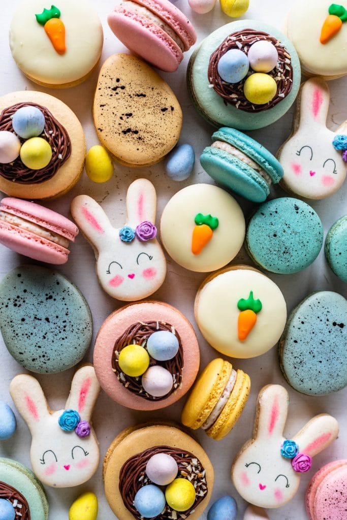 Easter macarons shaped like bunnies, or eggs nests, and macarons with carrots on top.