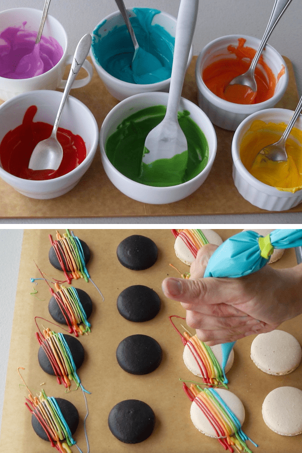 bowls with candy melts in the rainbow colors, and then a picture of a hand drizzling the rainbow colors over the shells of macarons.
