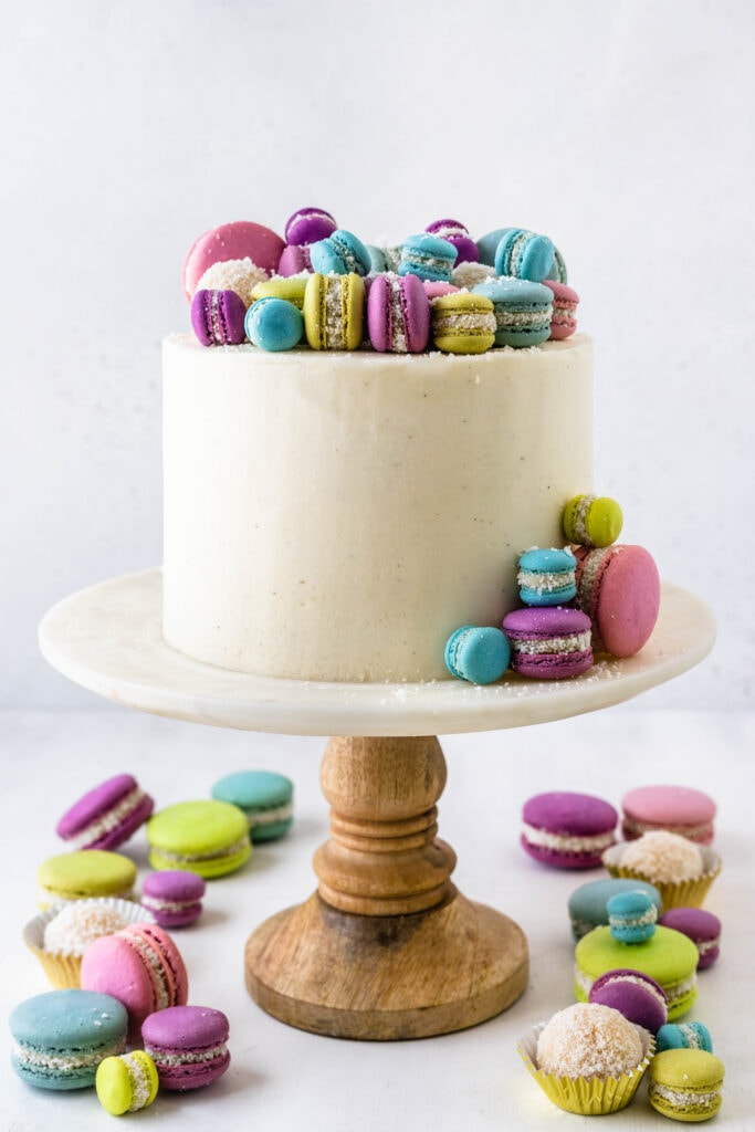 Cake decorated with Coconut Fudge Macarons