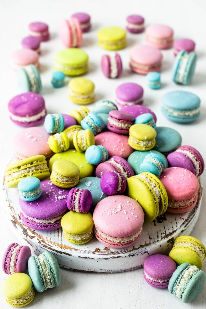 coconut fudge macarons in all different colors, green, blue, purple, pink.