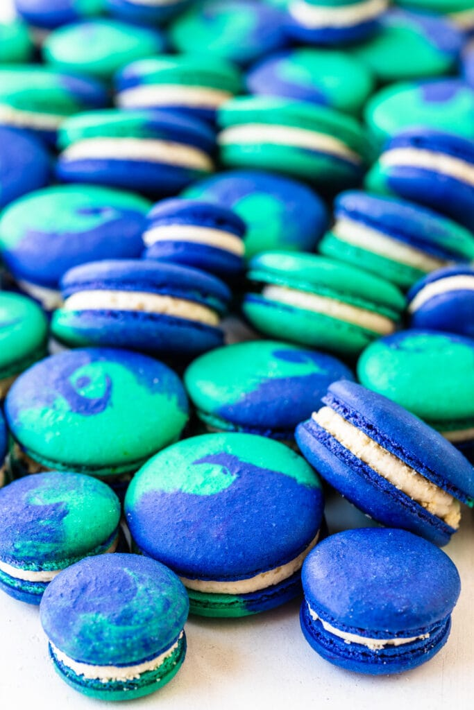 blue and teal macarons.