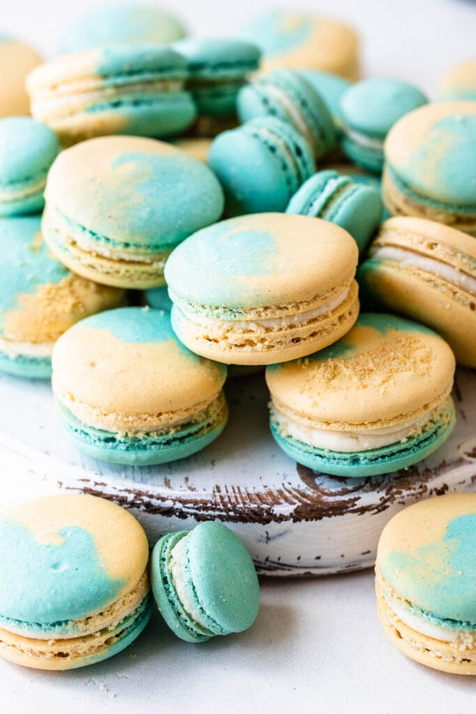 blue and yellow macarons.