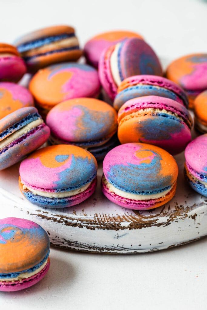 pink, orange, and blue macarons.