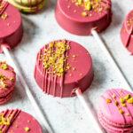 Ruby Pistachio Macaron Pops