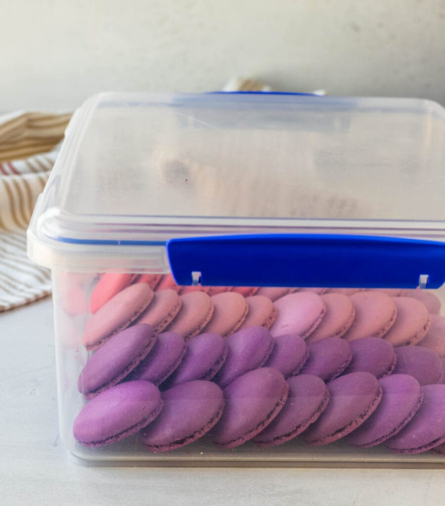 storage container filled with macarons.